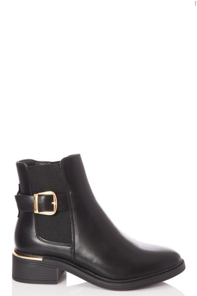 Wide Fit Black Buckle Chelsea Boot